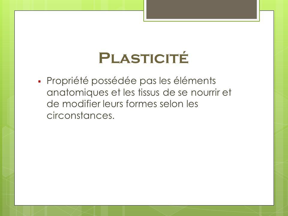 Plasticité Propriété possédée pas les éléments anatomiques et les tissus de se nourrir et de modifier leurs formes selon les circonstances.