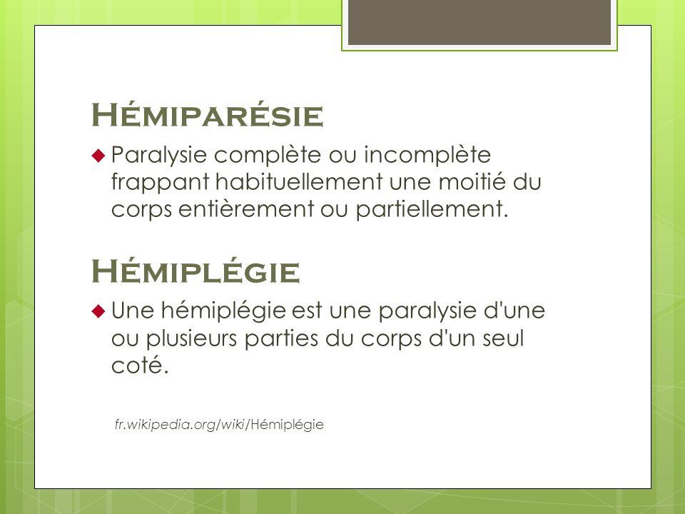 Hémiparésie Hémiplégie