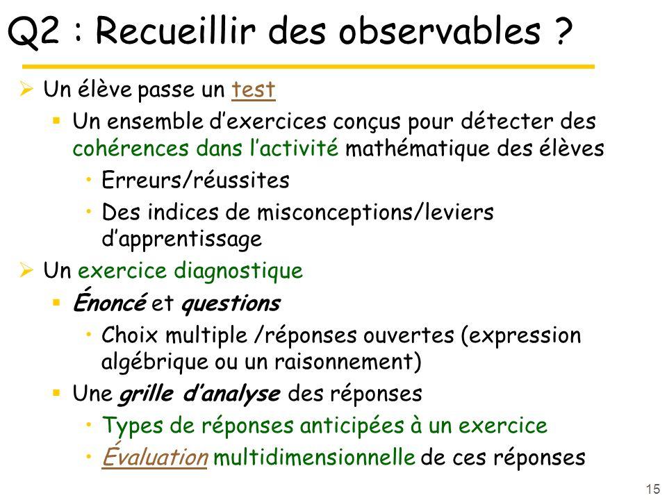 Q2 : Recueillir des observables