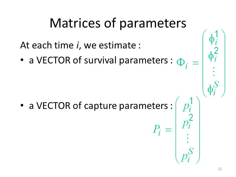 Matrices of parameters