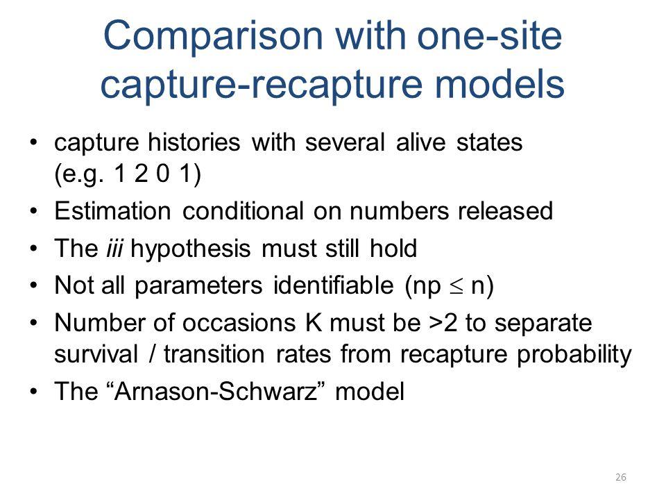 Comparison with one-site capture-recapture models