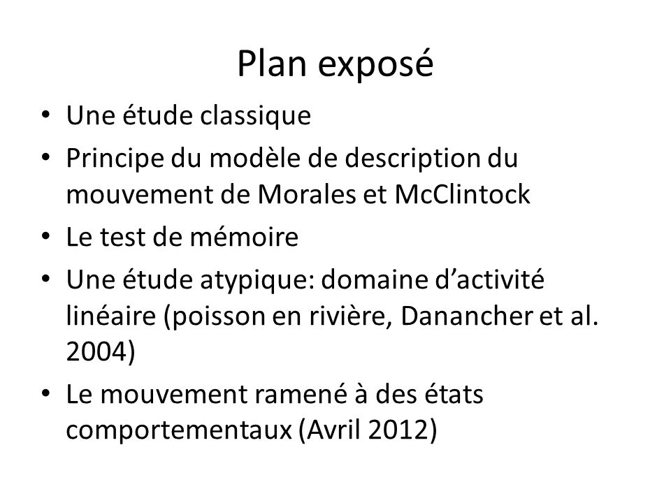 Plan exposé Une étude classique