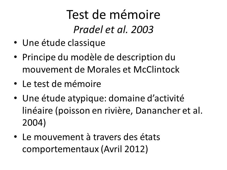 Test de mémoire Pradel et al. 2003