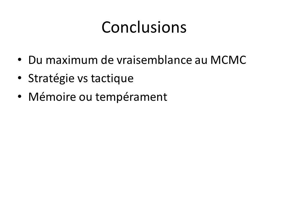 Conclusions Du maximum de vraisemblance au MCMC Stratégie vs tactique