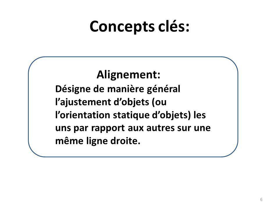 Concepts clés: Alignement: