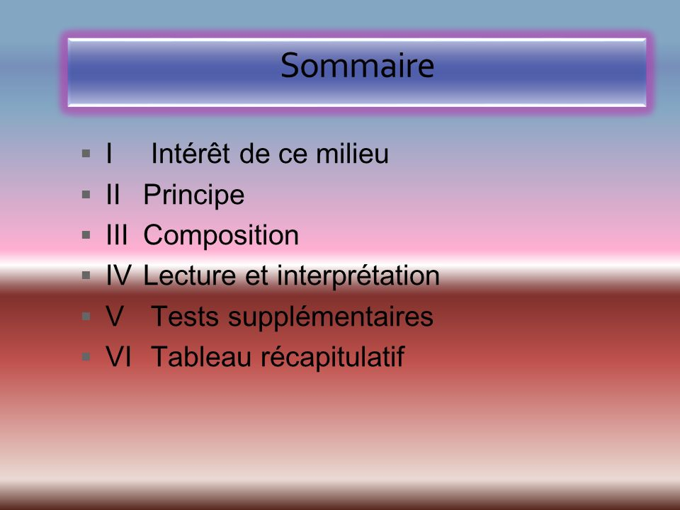 Sommaire I Intérêt de ce milieu II Principe III Composition