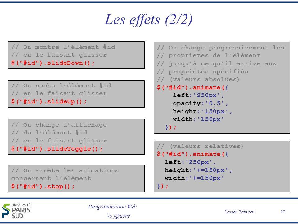Les effets (2/2) // On montre l'élément #id // en le faisant glisser