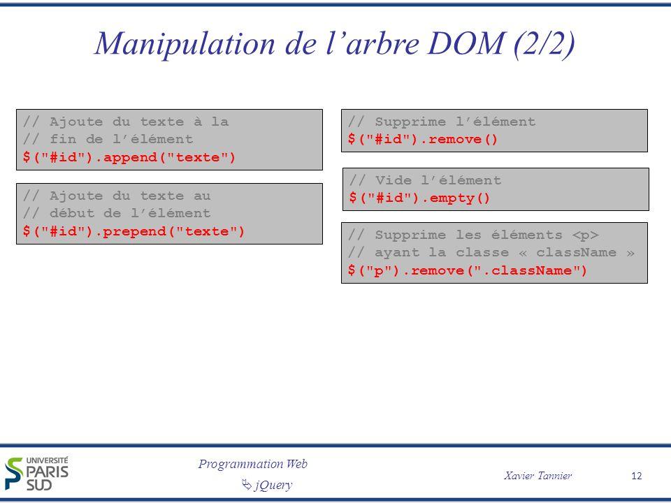 Manipulation de l'arbre DOM (2/2)