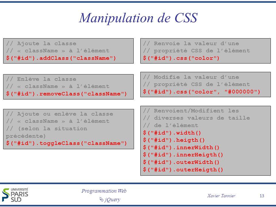 Manipulation de CSS // Ajoute la classe // « className » à l'élément
