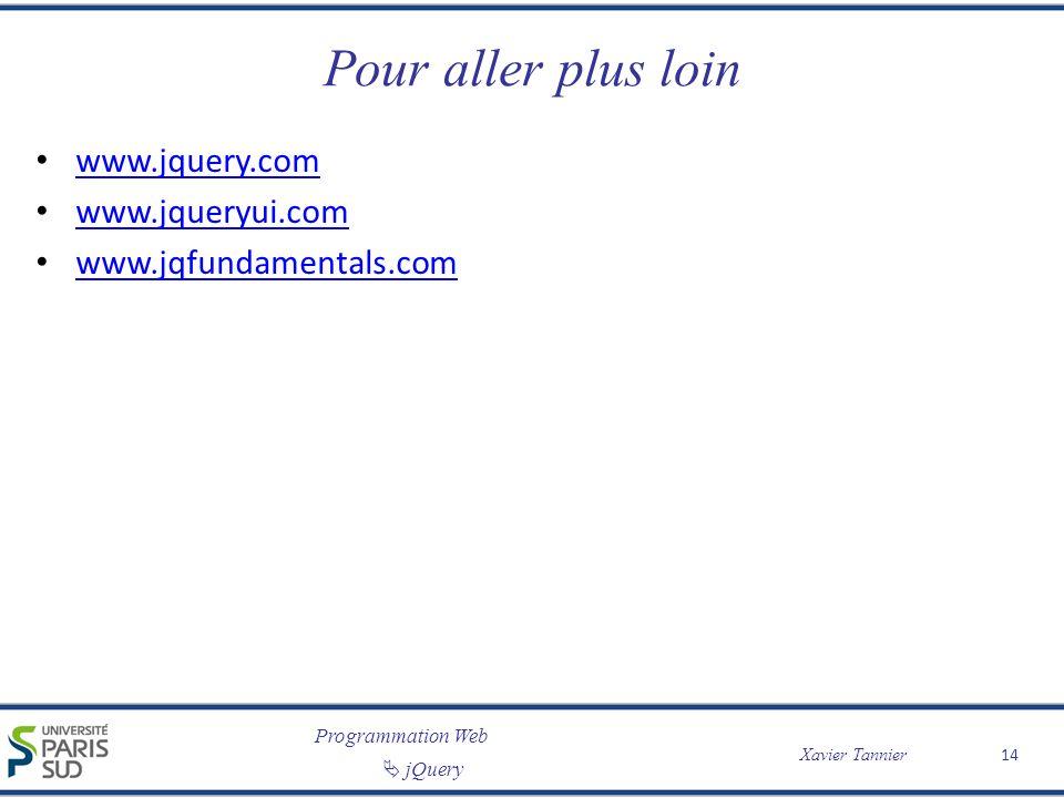 Pour aller plus loin www.jquery.com www.jqueryui.com