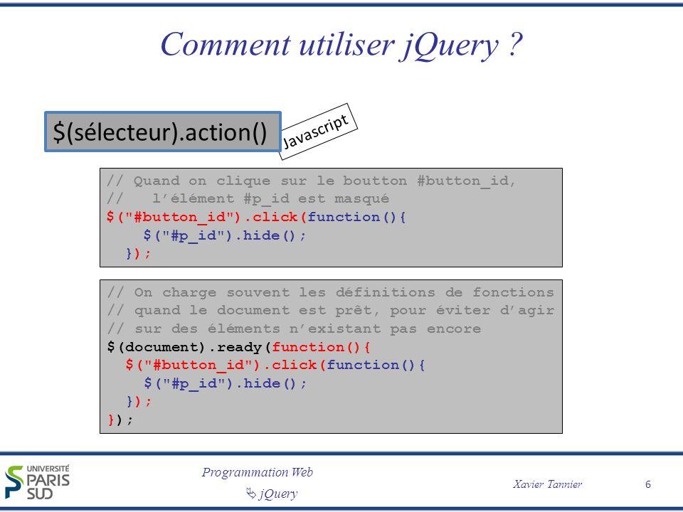 Comment utiliser jQuery