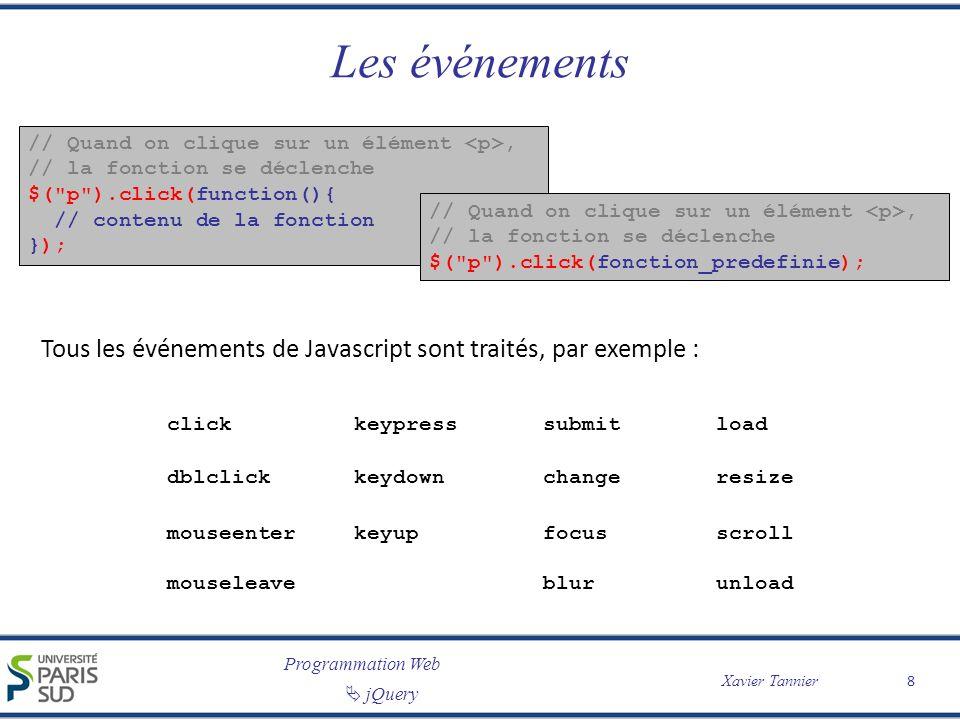 Les événements // Quand on clique sur un élément <p>, // la fonction se déclenche. $( p ).click(function(){ // contenu de la fonction });