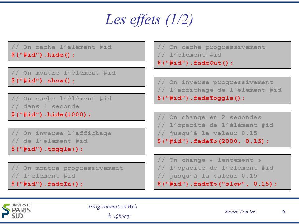 Les effets (1/2) // On cache l'élément #id $( #id ).hide();
