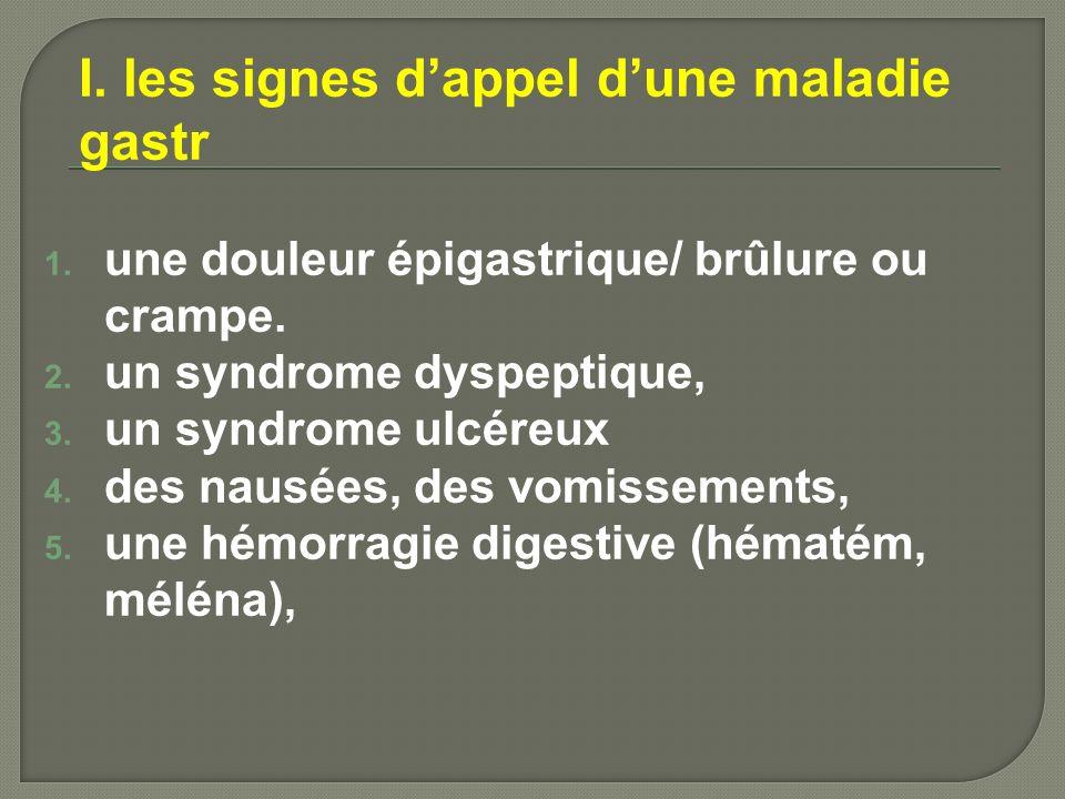 I. les signes d'appel d'une maladie gastr