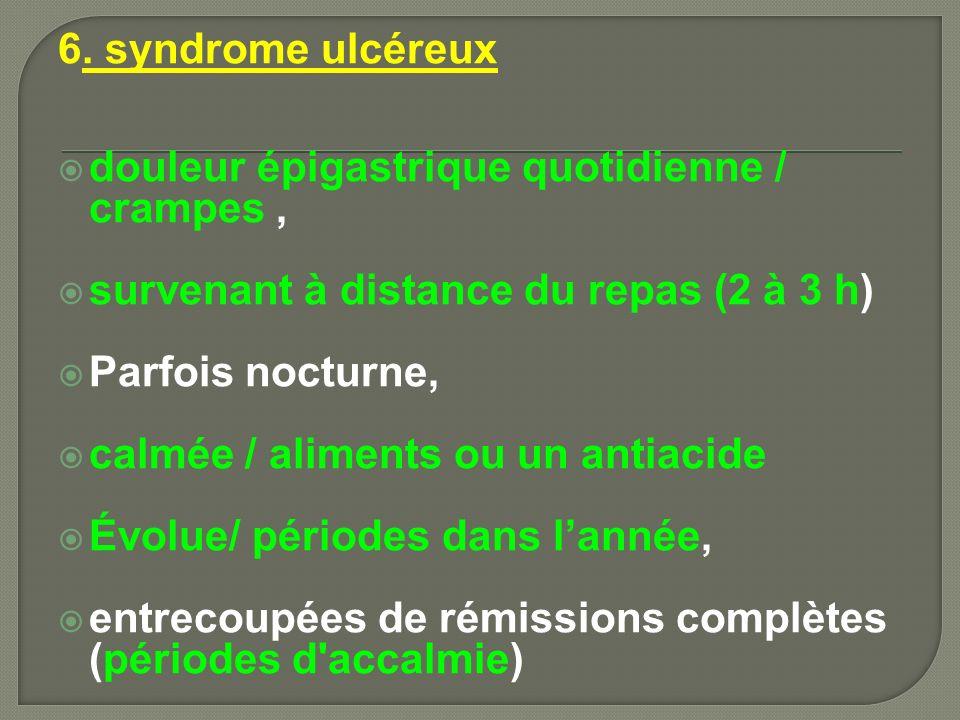 6. syndrome ulcéreux douleur épigastrique quotidienne / crampes , survenant à distance du repas (2 à 3 h)