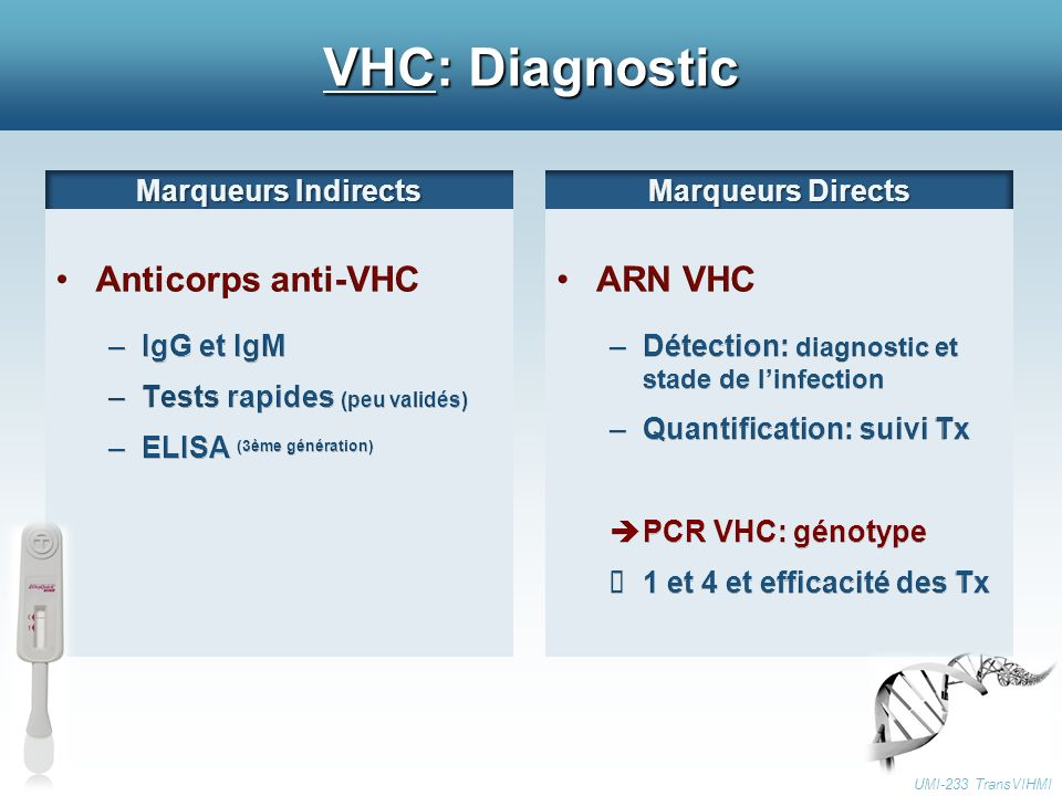 VHC: Diagnostic Anticorps anti-VHC ARN VHC Marqueurs Indirects