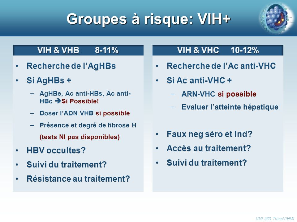 Groupes à risque: VIH+ VIH & VHB 8-11% Recherche de l'AgHBs Si AgHBs +