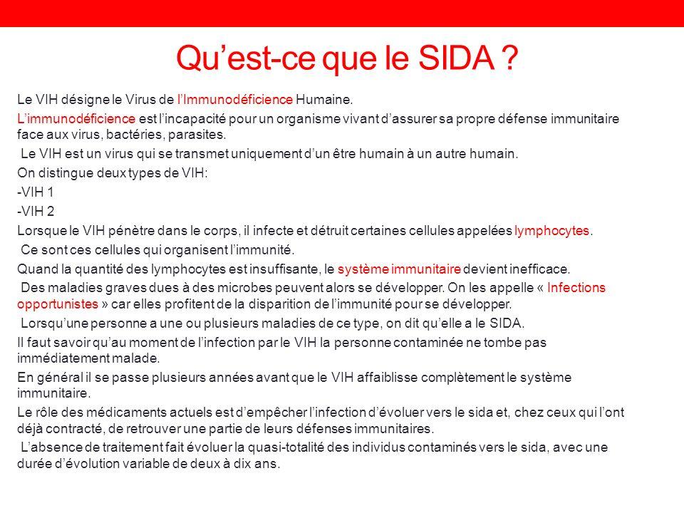 Qu'est-ce que le SIDA Le VIH désigne le Virus de l'Immunodéficience Humaine.