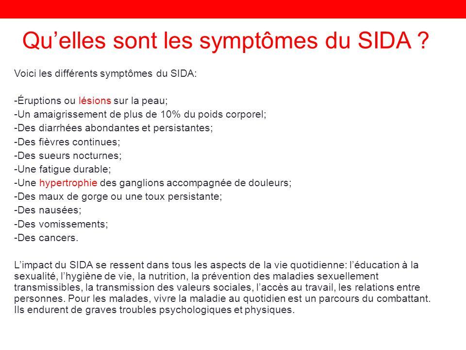 Qu'elles sont les symptômes du SIDA
