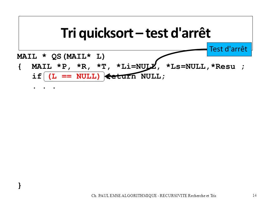 Tri quicksort – test d arrêt