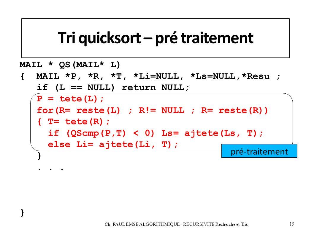 Tri quicksort – pré traitement