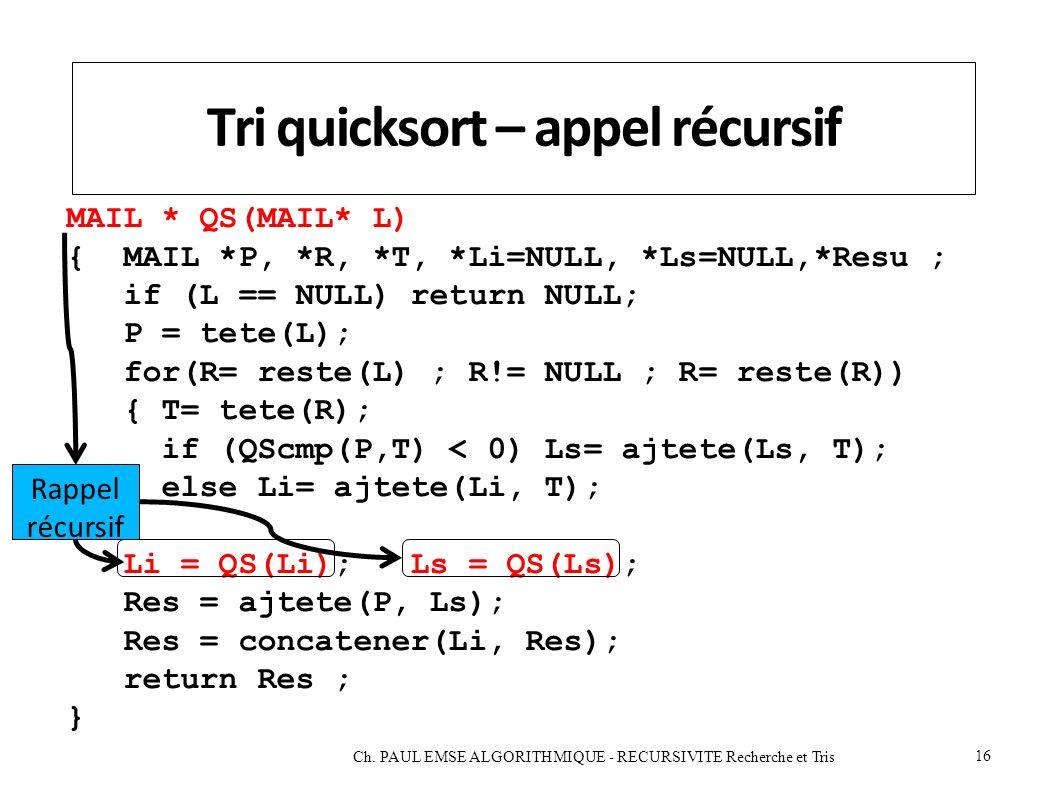 Tri quicksort – appel récursif