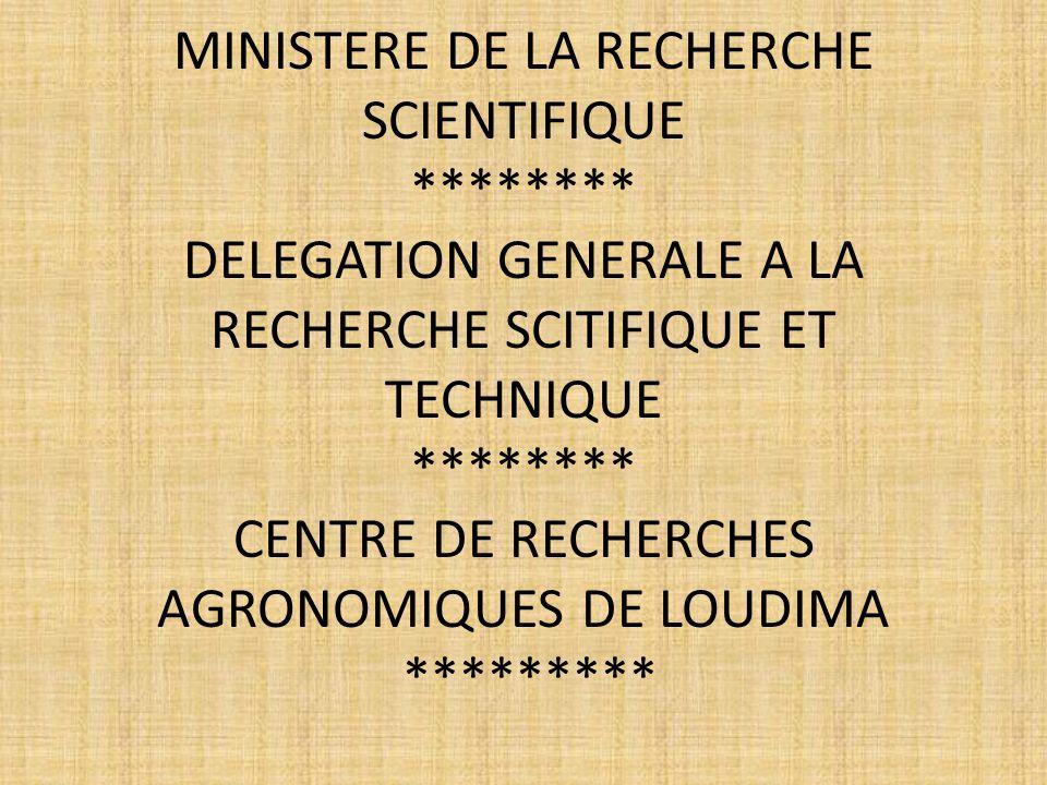 MINISTERE DE LA RECHERCHE SCIENTIFIQUE