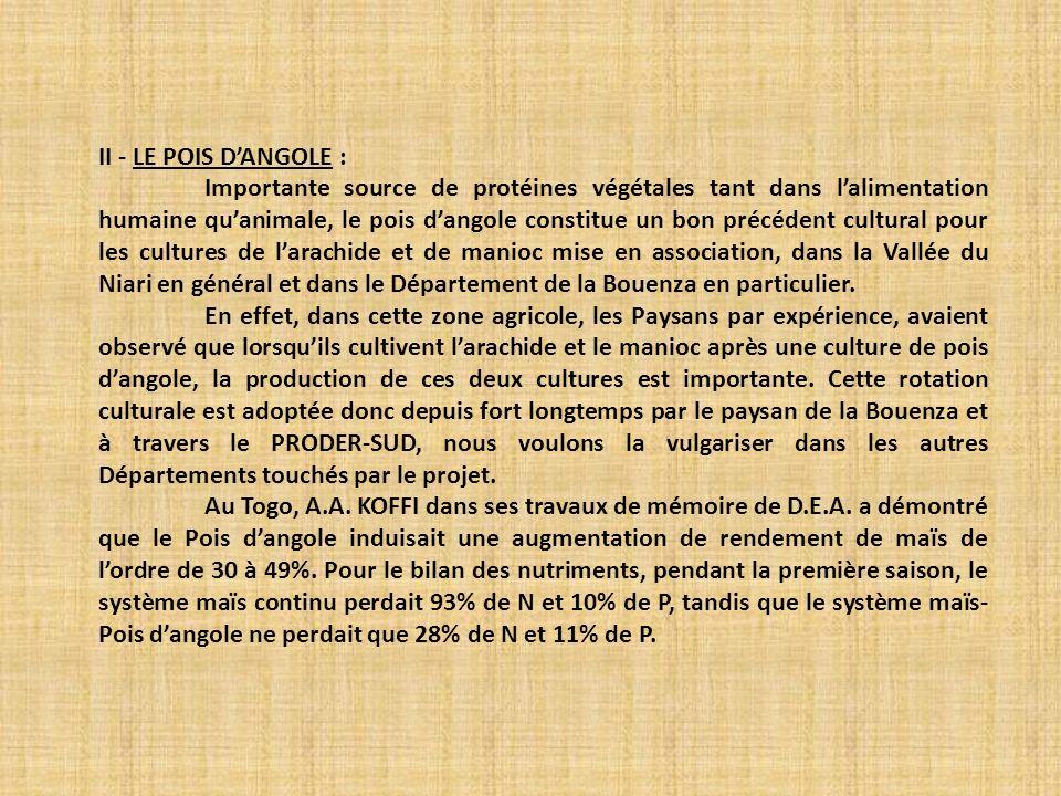 II - LE POIS D'ANGOLE :