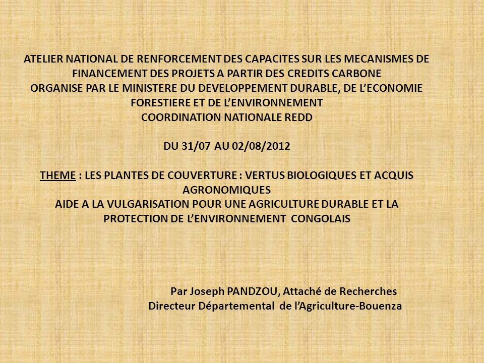 COORDINATION NATIONALE REDD