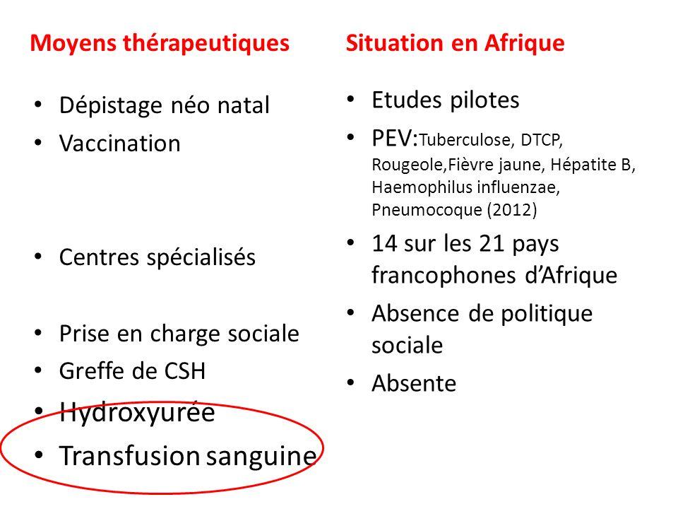 Hydroxyurée Transfusion sanguine Moyens thérapeutiques