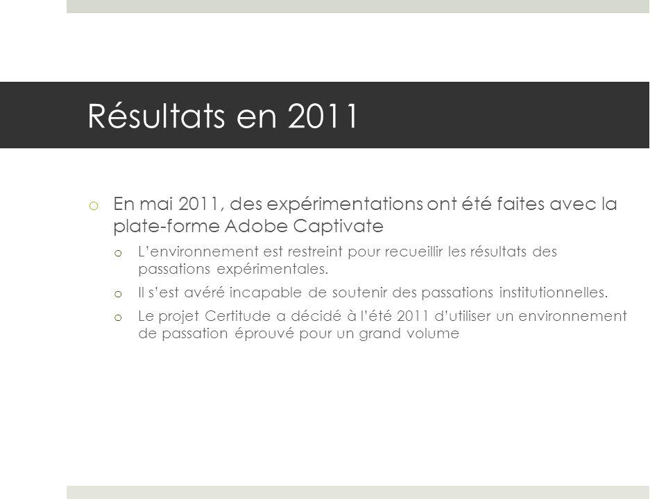 Résultats en 2011 En mai 2011, des expérimentations ont été faites avec la plate-forme Adobe Captivate.