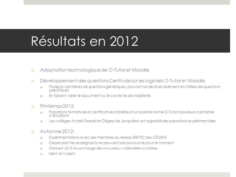 Résultats en 2012 Adaptation technologique de O-Tutor et Moodle