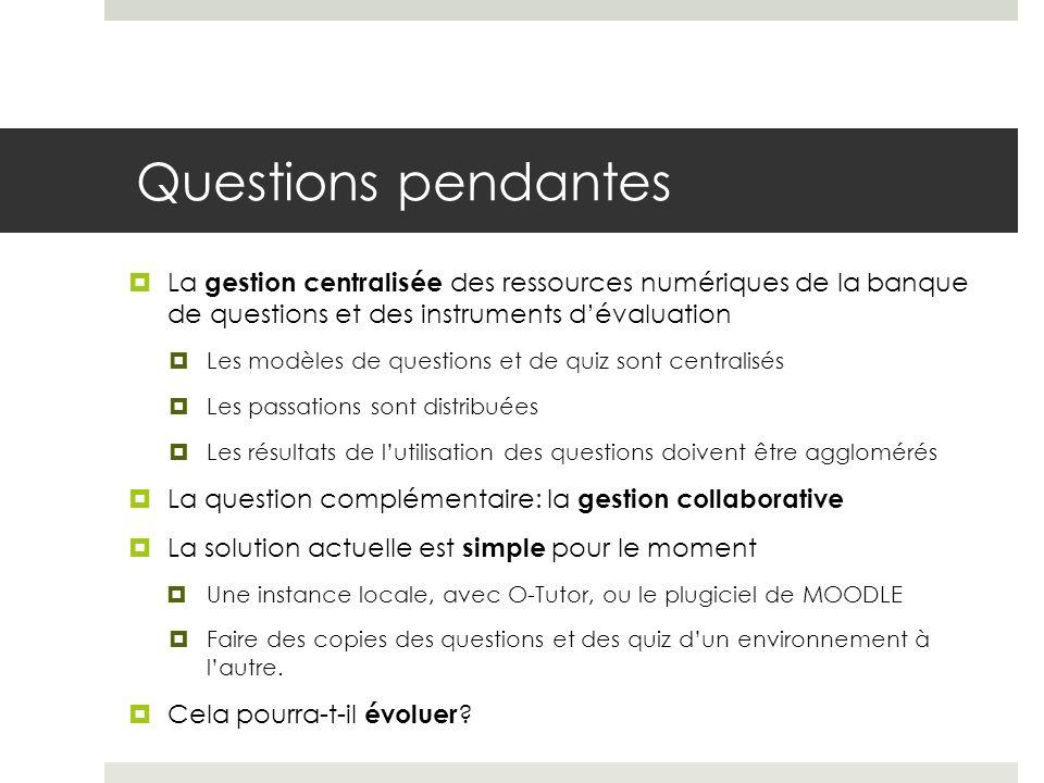 Questions pendantes La gestion centralisée des ressources numériques de la banque de questions et des instruments d'évaluation.