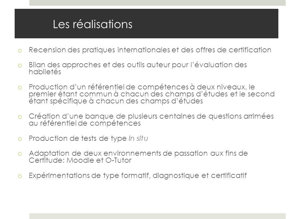 Les réalisations Recension des pratiques internationales et des offres de certification.