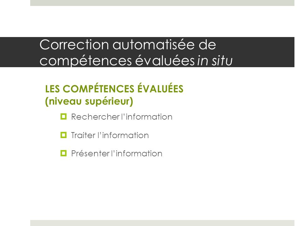 Correction automatisée de compétences évaluées in situ