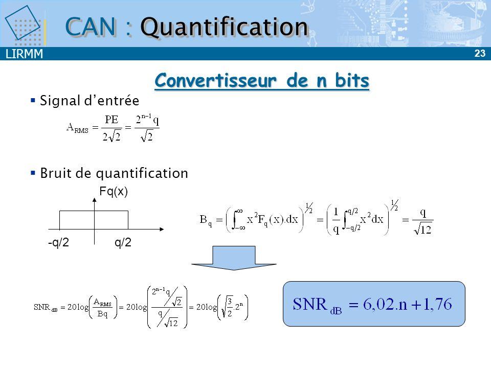 CAN : Quantification Convertisseur de n bits Signal d'entrée