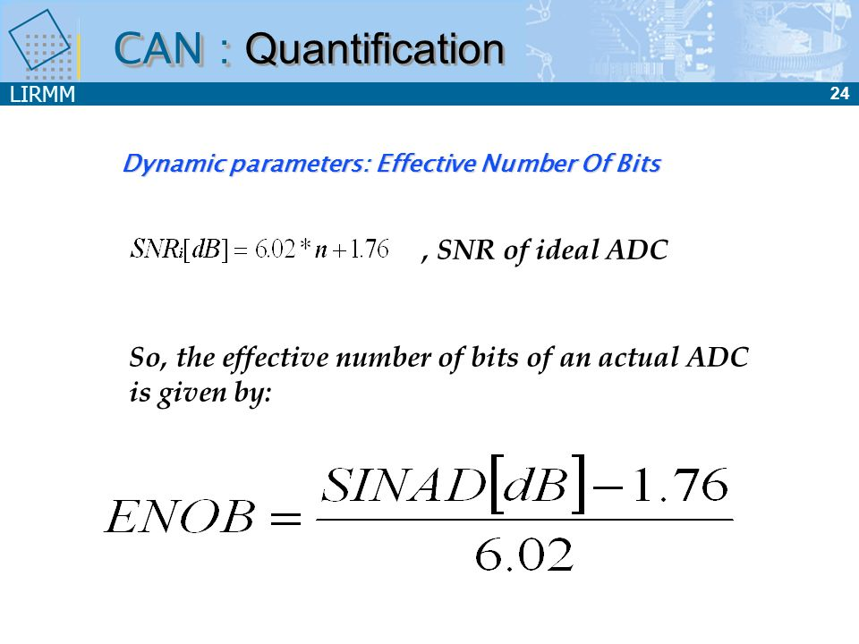 Dynamic parameters: Effective Number Of Bits