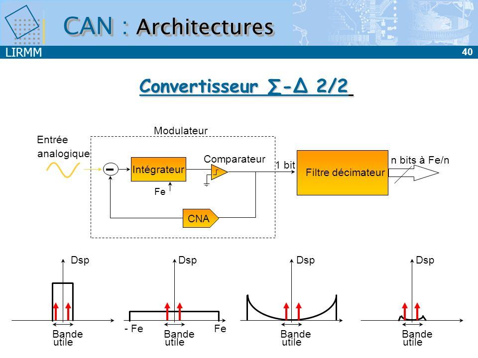 CAN : Architectures Convertisseur ∑-∆ 2/2 Modulateur Entrée analogique