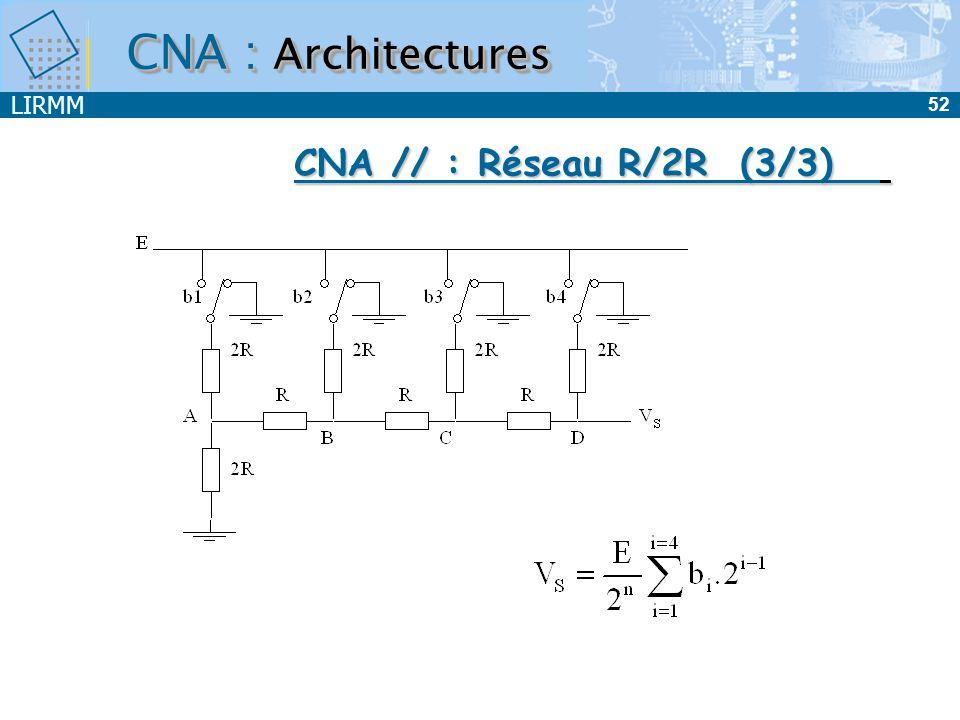 CNA : Architectures CNA // : Réseau R/2R (3/3)