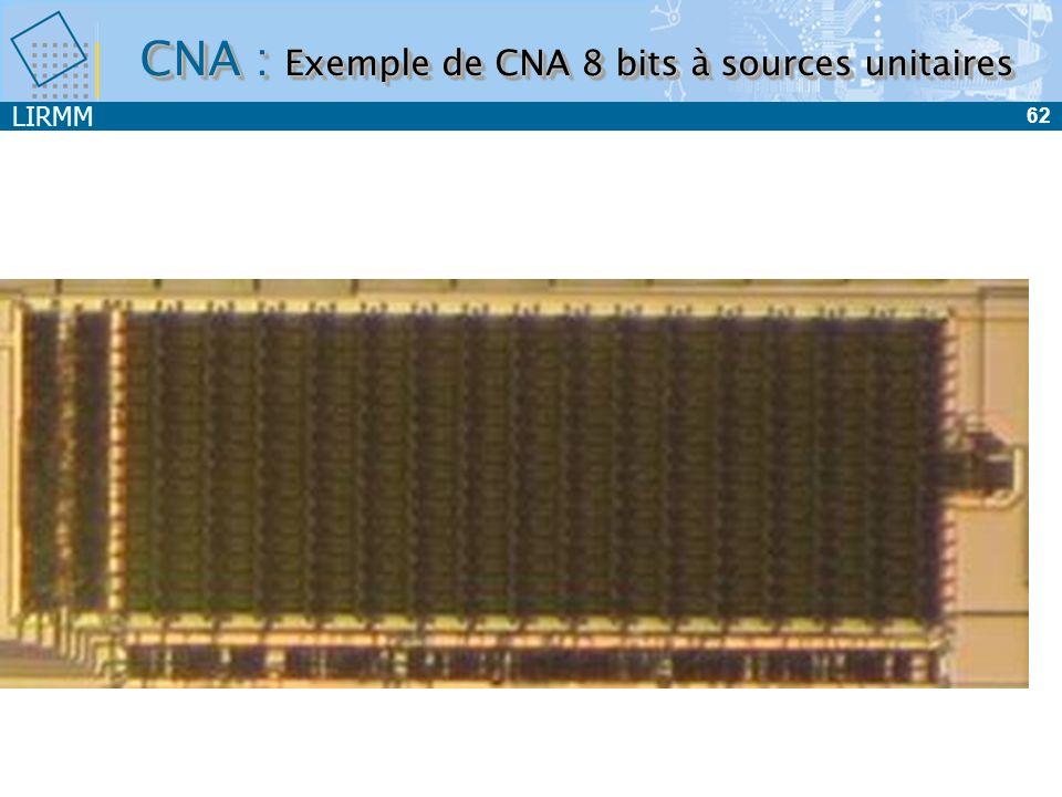 CNA : Exemple de CNA 8 bits à sources unitaires