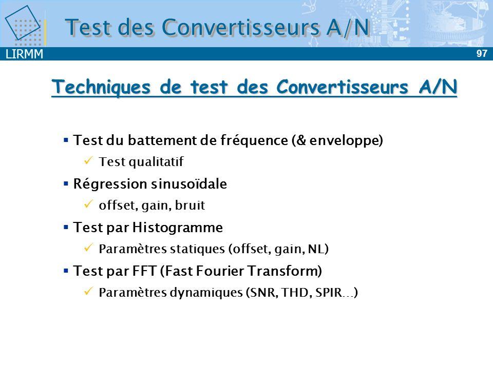 Techniques de test des Convertisseurs A/N