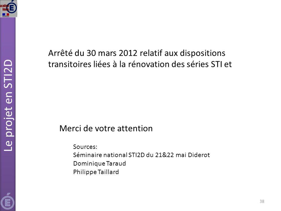 Le projet en STI2D Arrêté du 30 mars 2012 relatif aux dispositions transitoires liées à la rénovation des séries STI et.