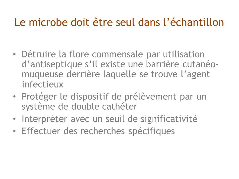Le microbe doit être seul dans l'échantillon