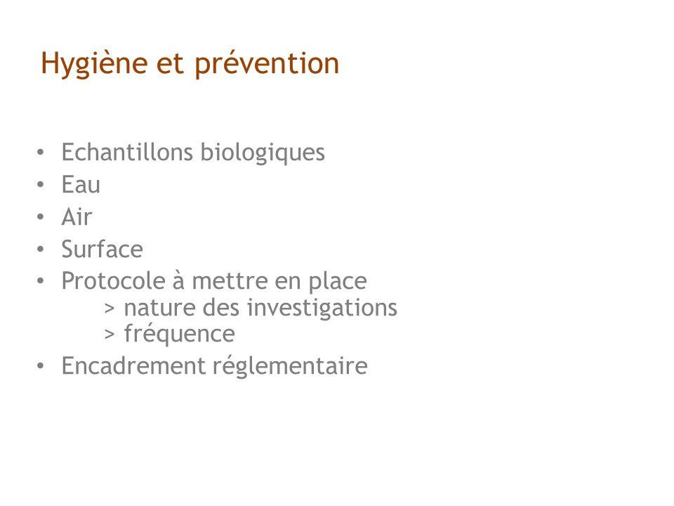 Hygiène et prévention Echantillons biologiques Eau Air Surface