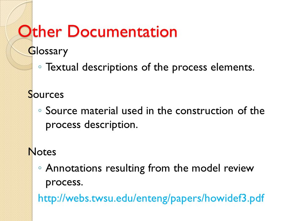 Other Documentation Glossary