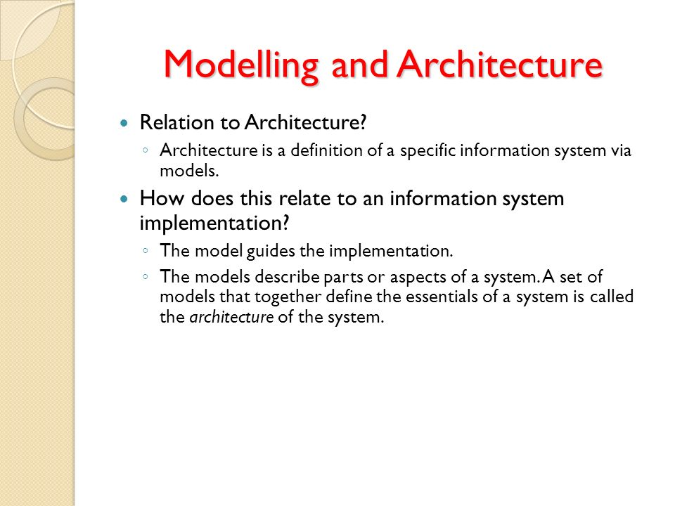 Modelling and Architecture