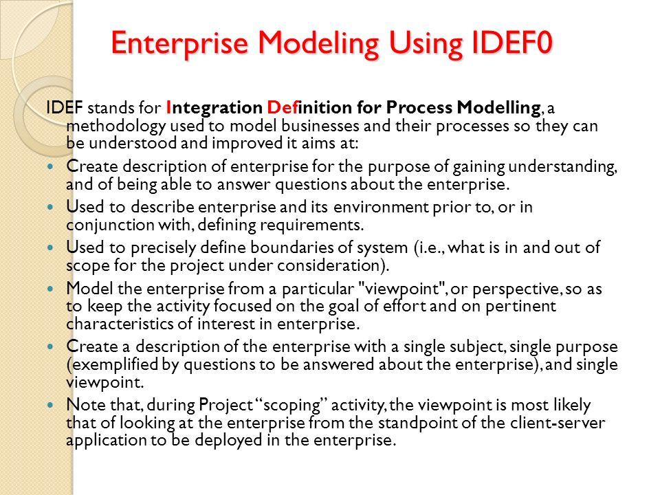 Enterprise Modeling Using IDEF0