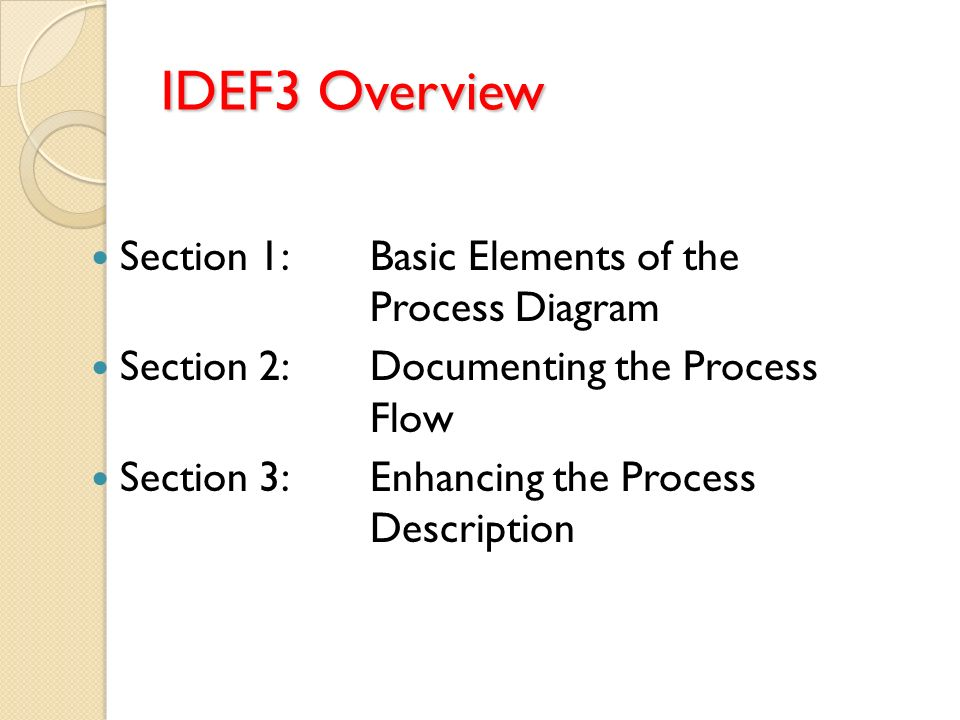 IDEF3 Overview Section 1: Basic Elements of the Process Diagram