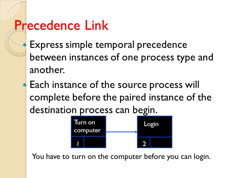 Precedence Link Express simple temporal precedence between instances of one process type and another.