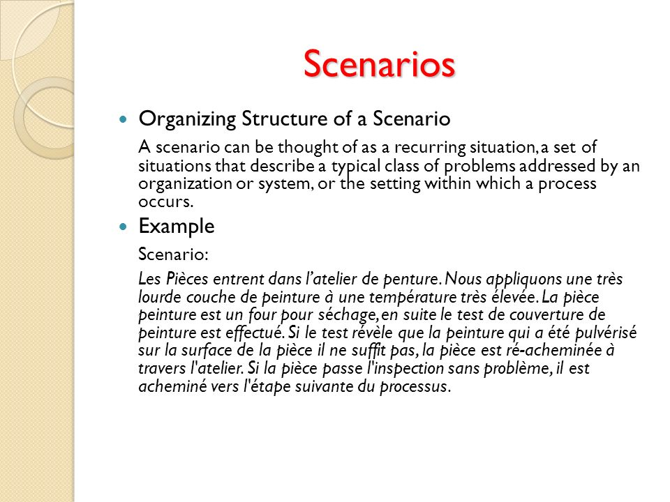 Scenarios Organizing Structure of a Scenario